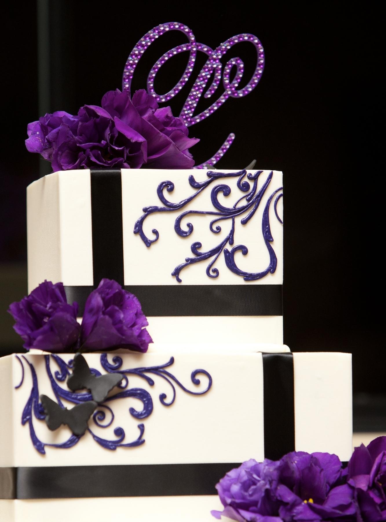 Gray Wedding Modern Wedding Cake Purple Wedding Cake