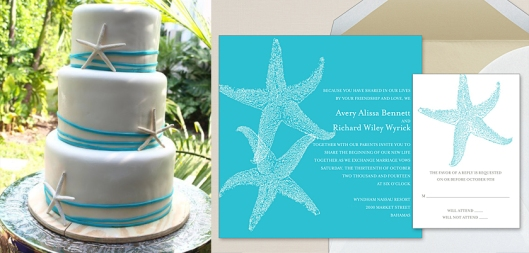 Imperial Starfish Invitation with Coordinating Cake