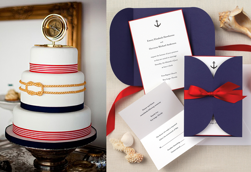 Nautical Beauty Invitation with Coordinating Cake