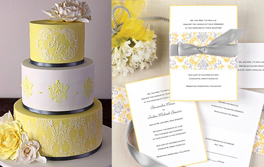 Delightfully Damask Invitation with Coordinating Cake