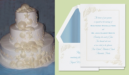 Sea Treasures Invitation and Coordinating Cake