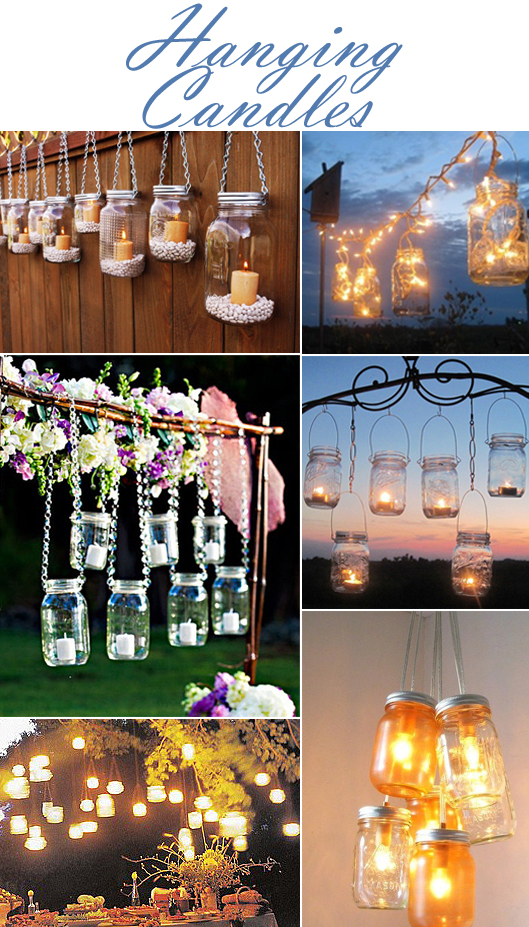 Candles in Suspended Mason Jars