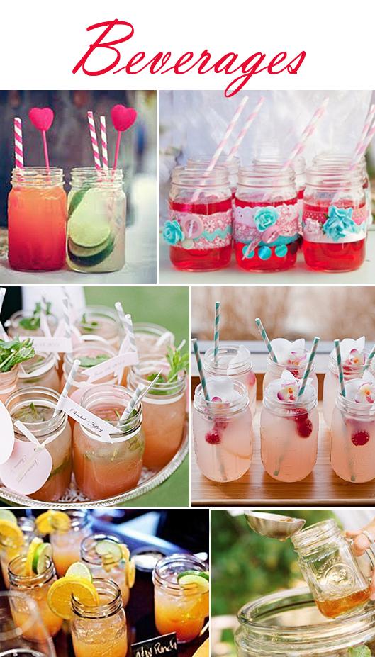 Beverages in Mason Jars