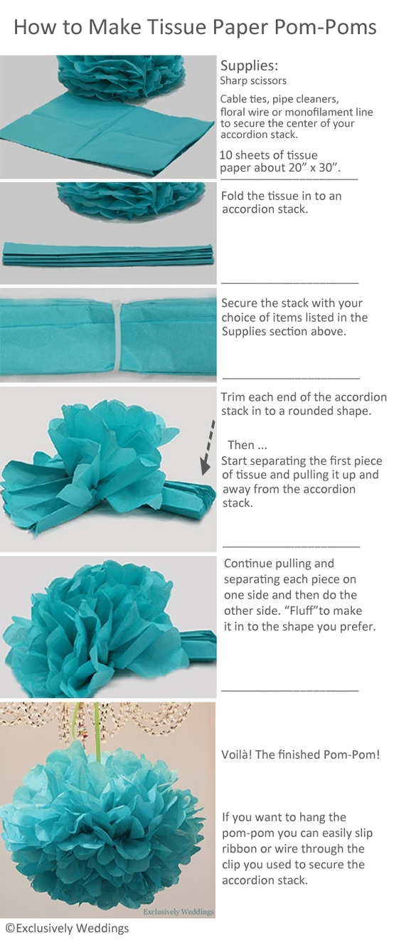 tissue paper pompoms Hanging pom poms made out of tissue paper are pretty decorations for a party, wedding, or use for home decor the pompoms can be made out of different colors of tissue paper or other materials such as cupcake wrappers or fabric.