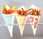 French Fries in Colorful Cones