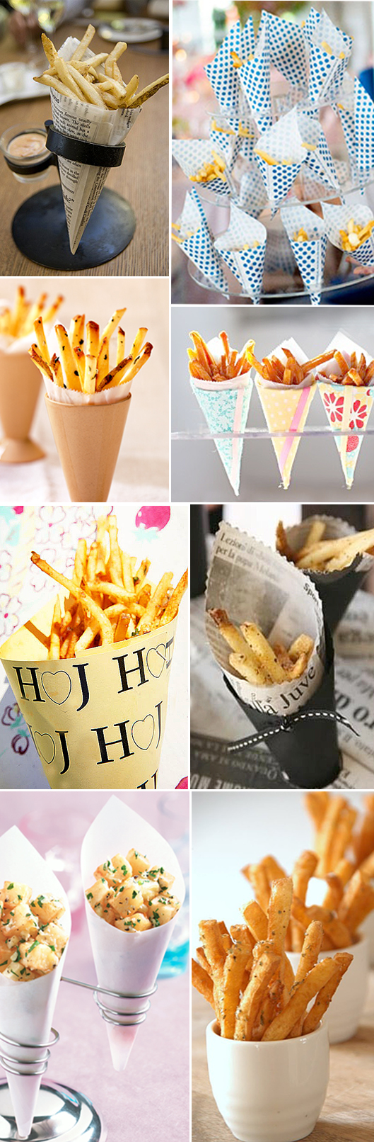 French Fries Served in Cups and Cones