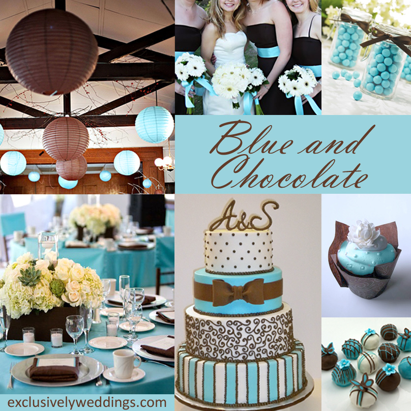 Color More Chocolate Combinations Blue And Brown Wedding