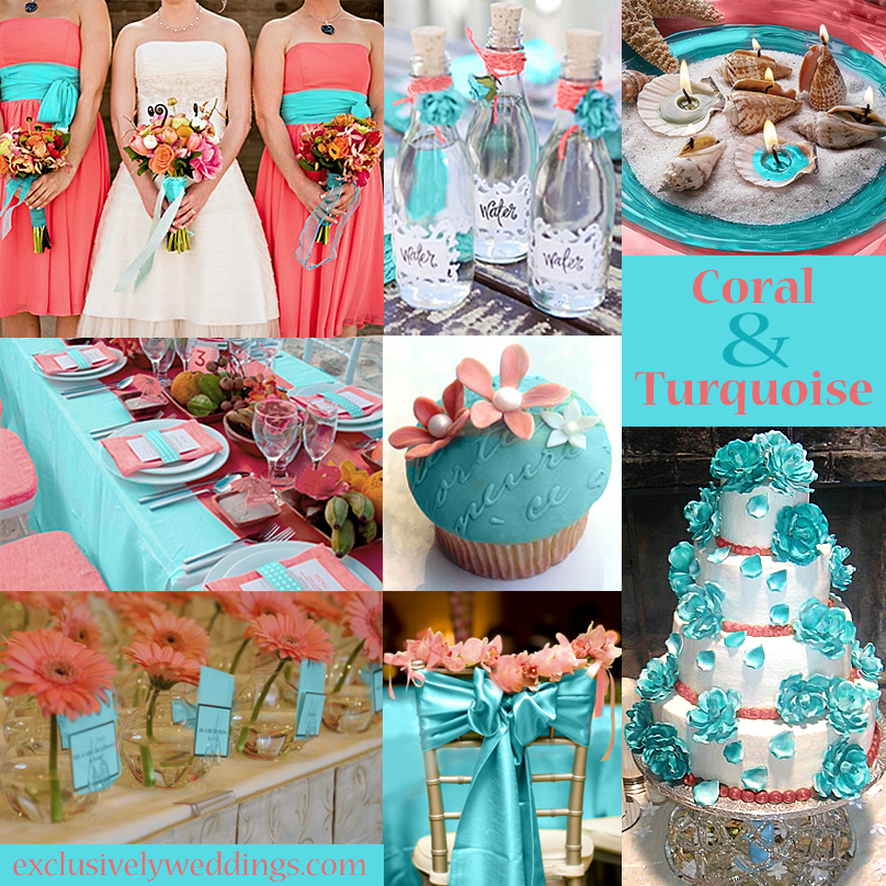 Your color story choosing your wedding colors exclusively weddings coral and turquoise wedding junglespirit Images
