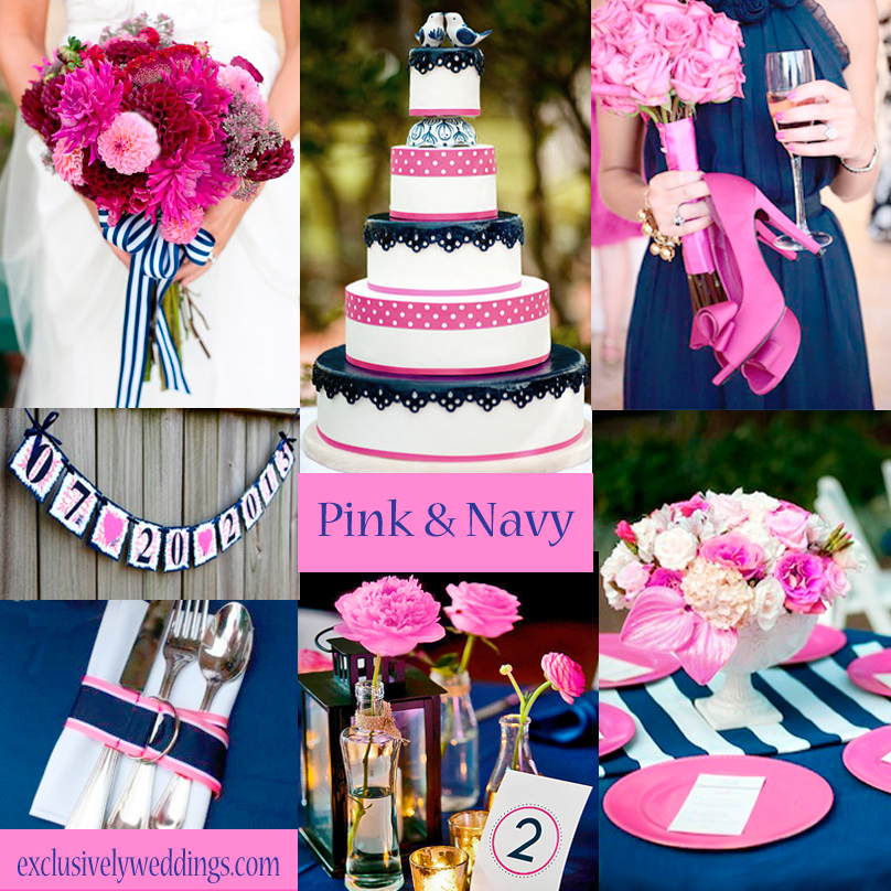 Your color story choosing your wedding colors exclusively weddings pink and navy wedding colors junglespirit Images