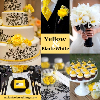 Yellow with Black and White Wedding Colors