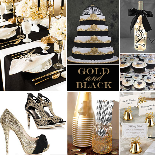 Your wedding color story part 2 all i like - Black and gold wedding reception decorations ...