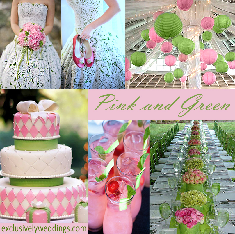 Your wedding color story part 2 exclusively weddings pink and green wedding junglespirit Images