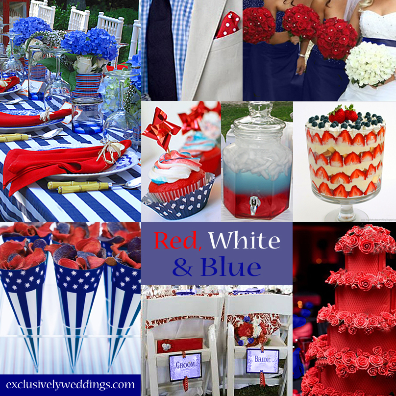 Blue wedding color five perfect combinations - Red white blue decorations ...
