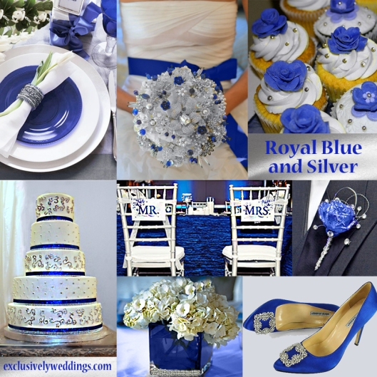 Blue wedding color five perfect combinations exclusively weddings royal blue and silver wedding junglespirit Choice Image