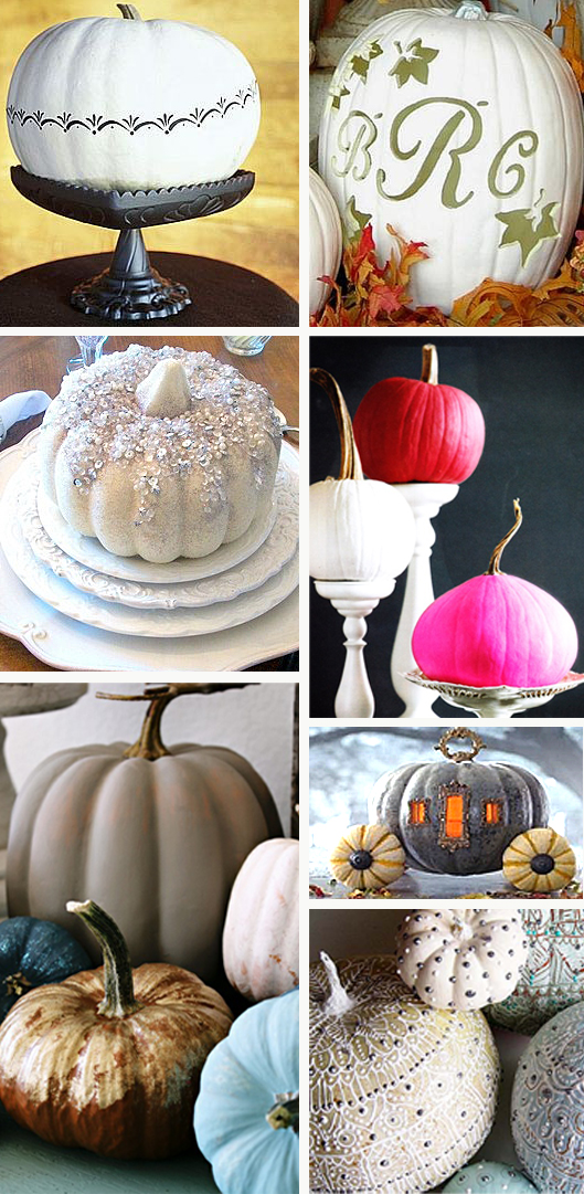 White Pumpkins Decorated