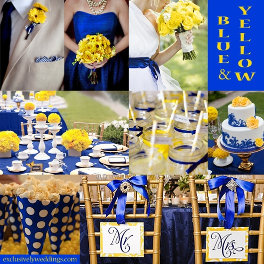 Blue wedding color five perfect combinations exclusively weddings yellow and royal blue wedding junglespirit Choice Image