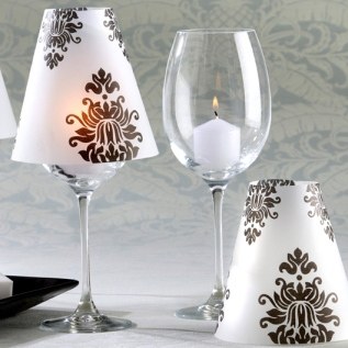 Damask Vellum Shades for Wedding Candles