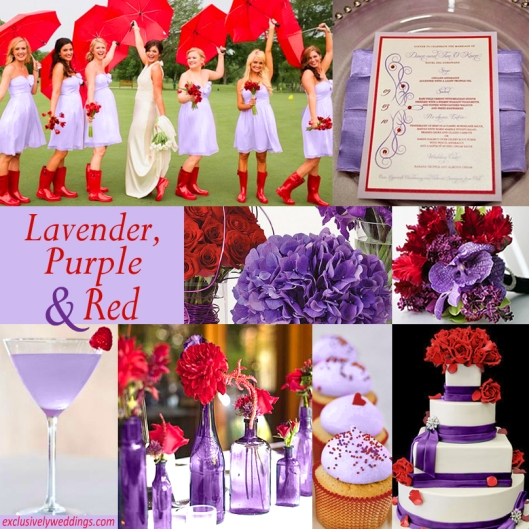 Lavender, Purple and Red Wedding Colors