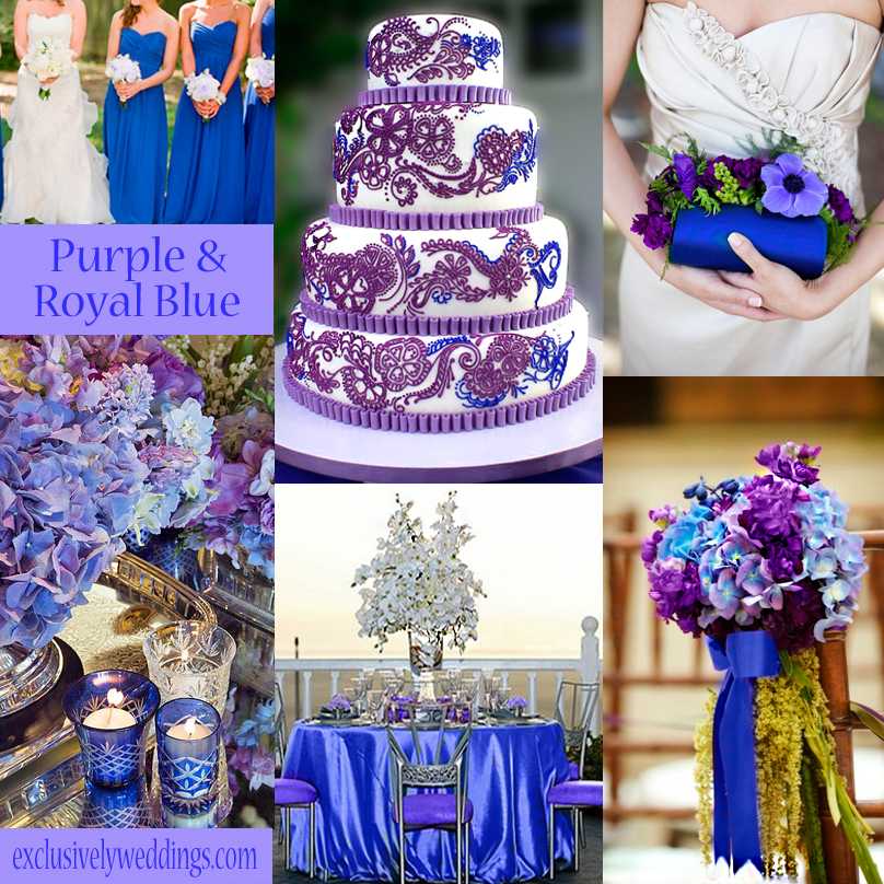 plum and blue wedding colors pictures