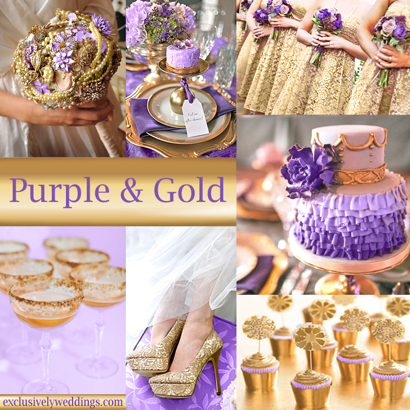 Purple wedding color combination options exclusively weddings purple and gold wedding colors junglespirit Images