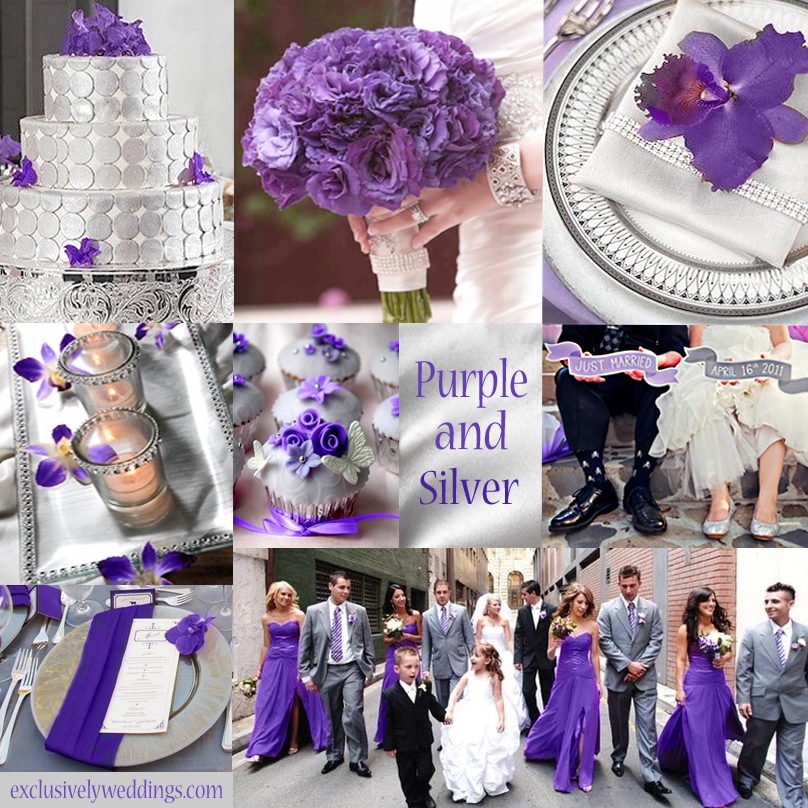 Your color story choosing your wedding colors exclusively purple and silver wedding colors junglespirit Image collections