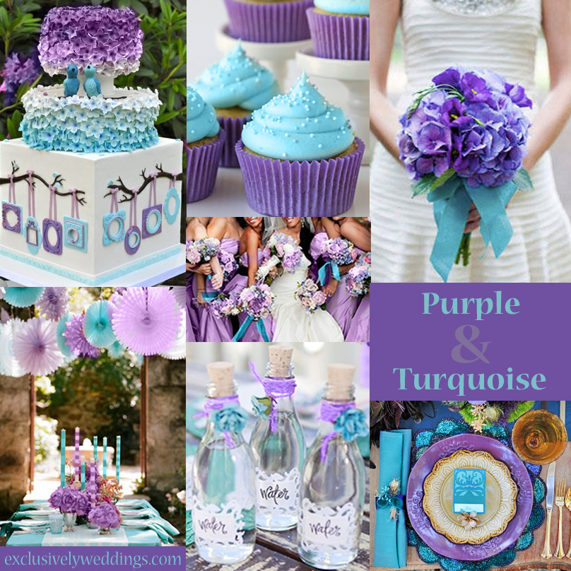 Purple wedding color combination options exclusively weddings purpleandturquoiseweddingcolors purpleandblueweddingcolors peacock colors for wedding junglespirit Gallery