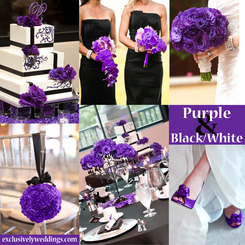Purple wedding color combination options exclusively weddings purple black and white wedding colors junglespirit Image collections