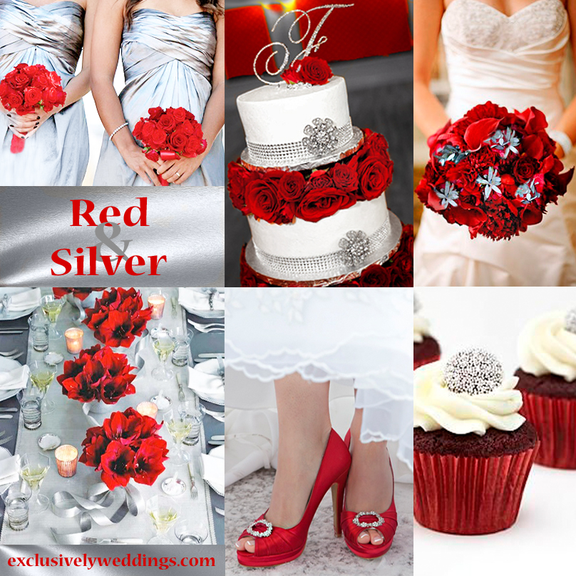 Red wedding color seven vibrant combinations exclusively weddings red and silver wedding colors junglespirit Gallery