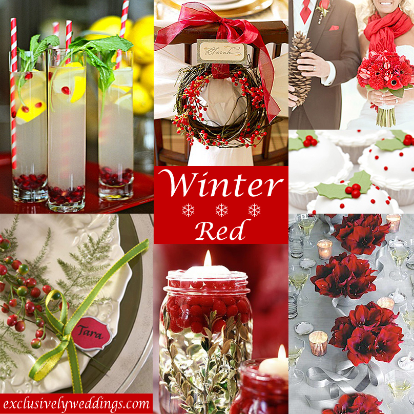 Winter wedding whats your color exclusively weddings winter wedding in red junglespirit Images