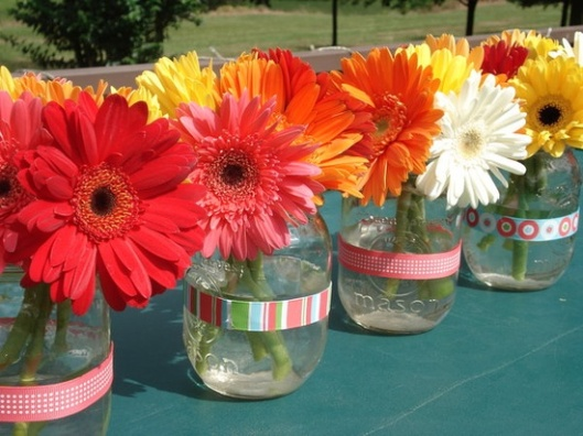 Easy diy wedding reception centerpieces exclusively for Deco table multicolore