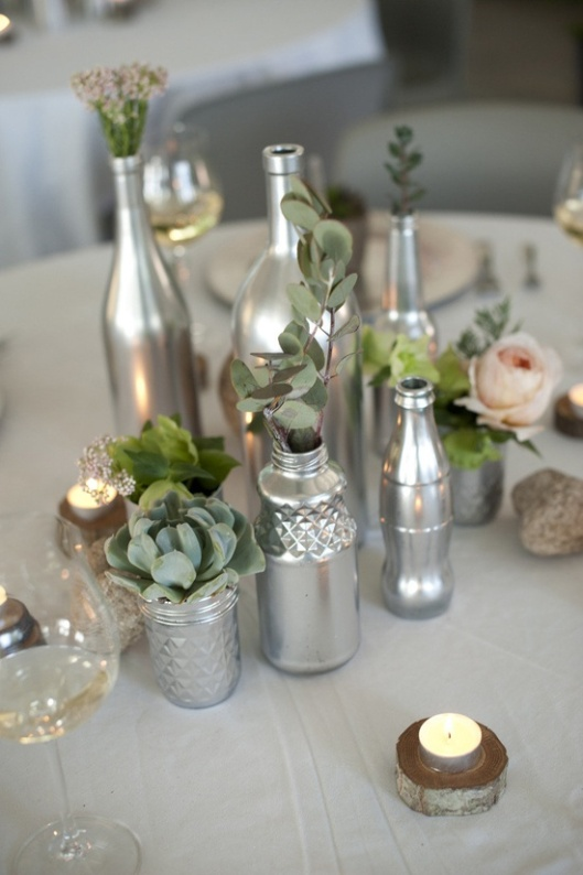DIY Centerpieces - Painted Bottles