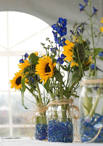 DIY Centerpieces - Using Colored Glass