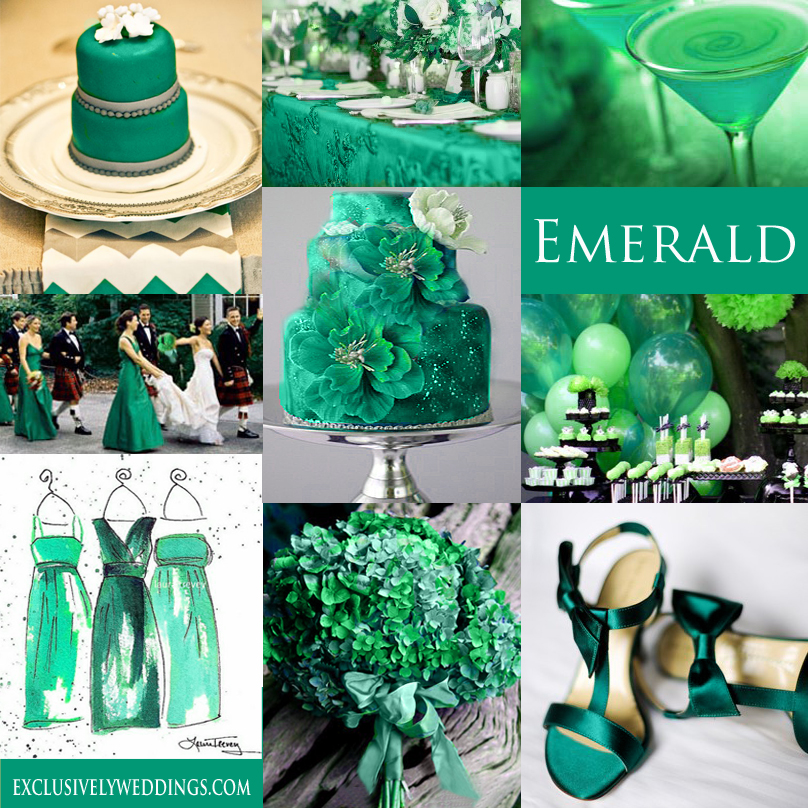 Your wedding color green exclusively weddings emerald green wedding color junglespirit Images