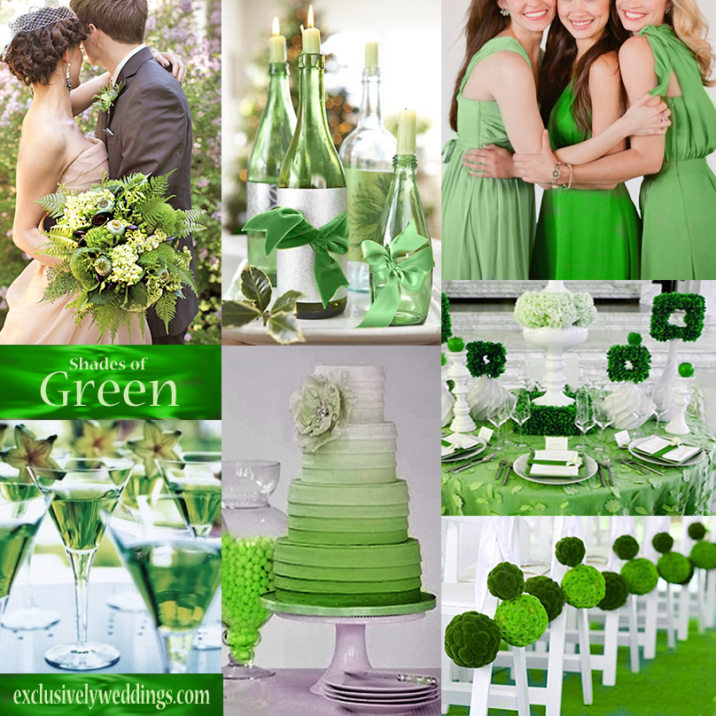 Your wedding color green exclusively weddings shades of green wedding colors junglespirit Images