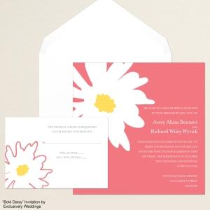Bold Daisy Coral Wedding Invitation