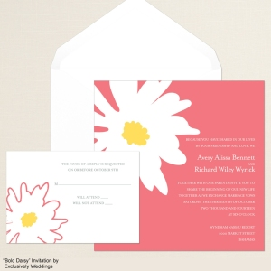 Bold Daisy Coral Wedding Invitation