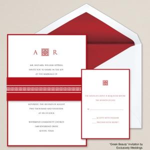 Greek Beauty Red Wedding Invitation