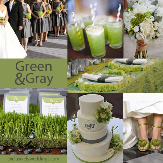 Green and Gray Wedding Colors