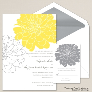 Passionate Peony Yellow and Gray Wedding Invitation