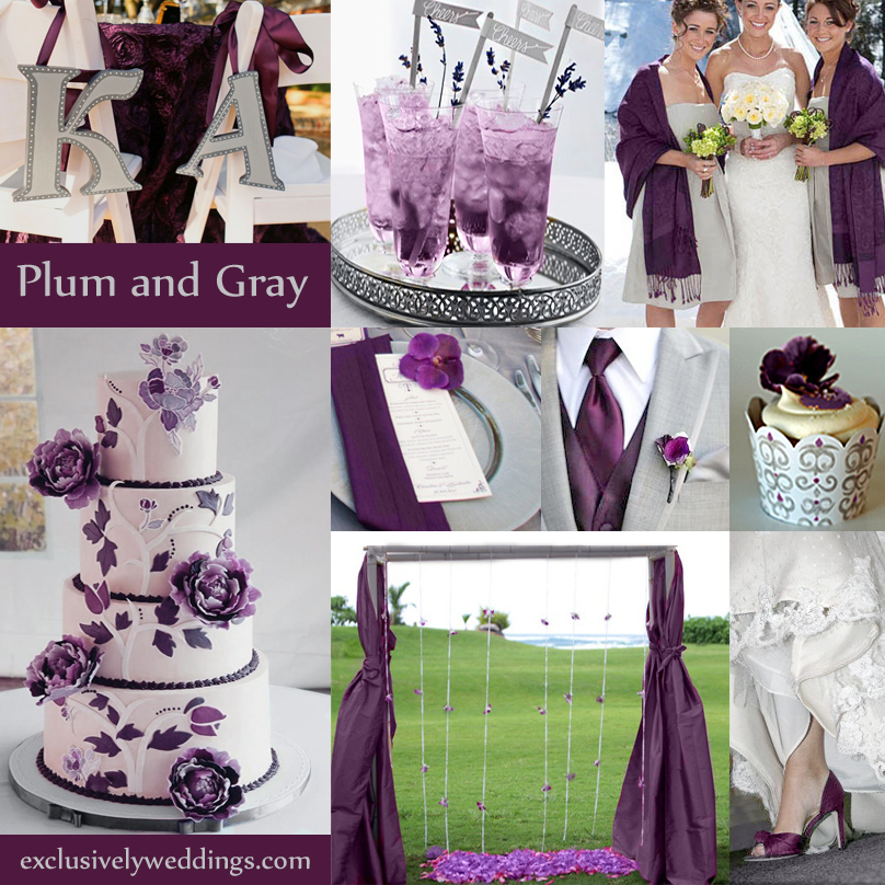 Gray wedding color the new neutral exclusively weddings blog plum and gray wedding colors junglespirit Image collections