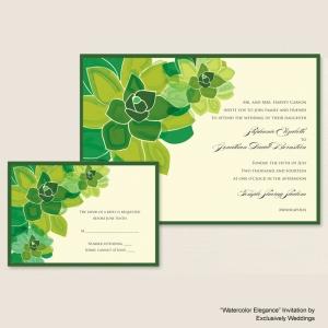 Watercolor Elegance Green Wedding Invitation
