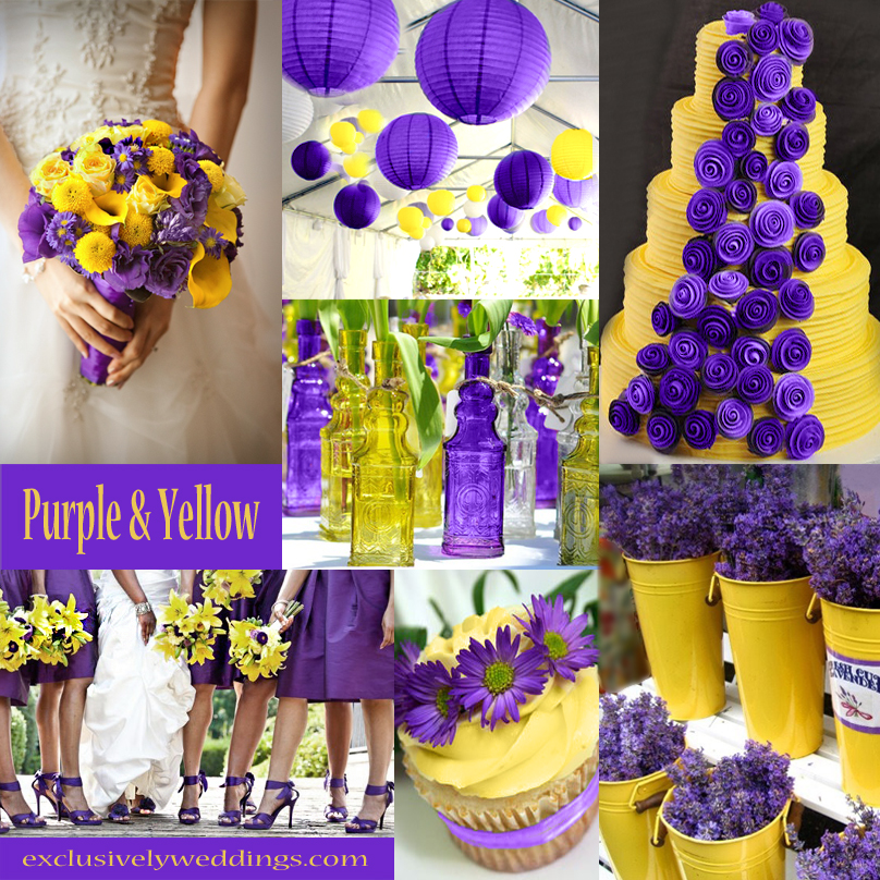Your wedding color story part 2 exclusively weddings purple and yellow wedding junglespirit Images