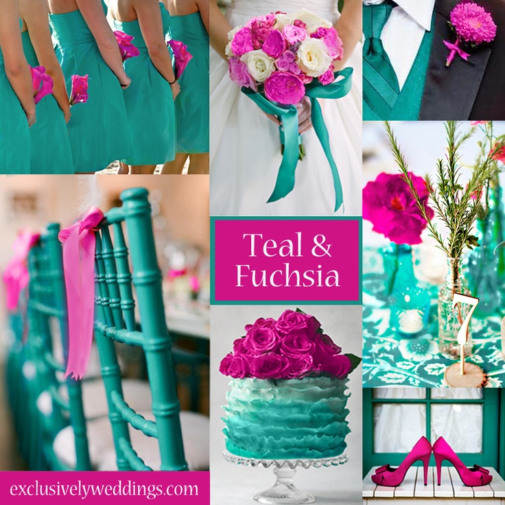 Signature wedding cocktail exclusively weddings teal and fuchsia wedding colors junglespirit Images