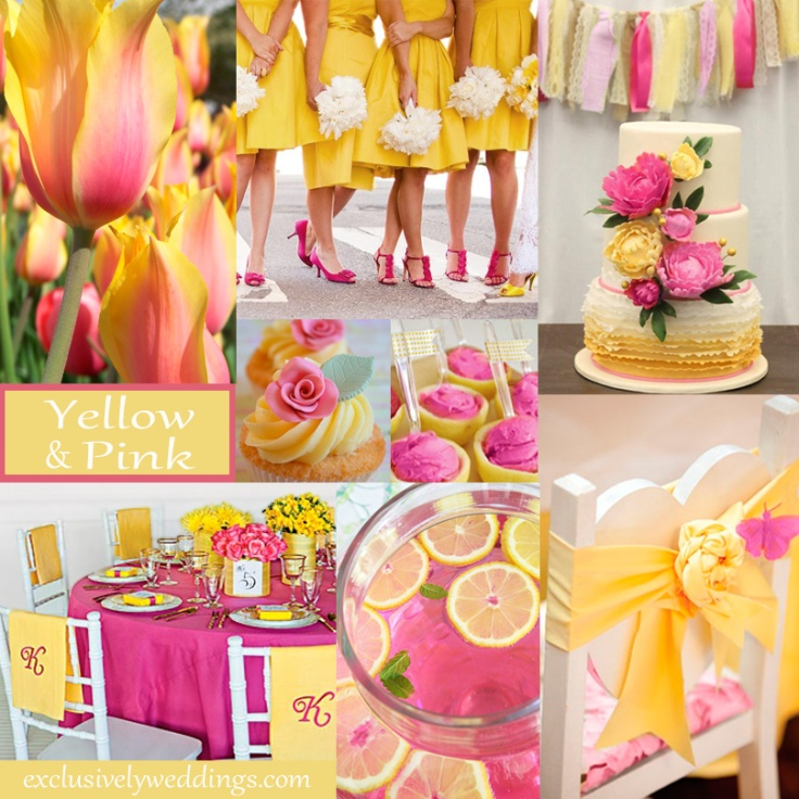 Yellow wedding color combination options exclusively weddings yellow and pink wedding colors junglespirit Images