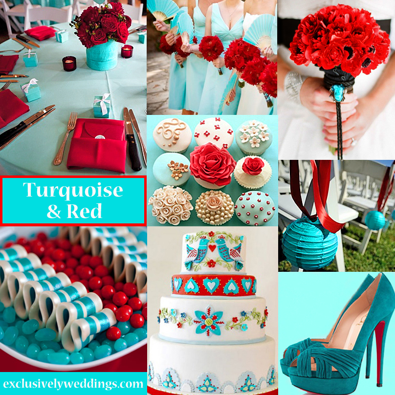 Turquoise wedding color seven perfect combinations exclusively turquoise and red wedding colors junglespirit Images
