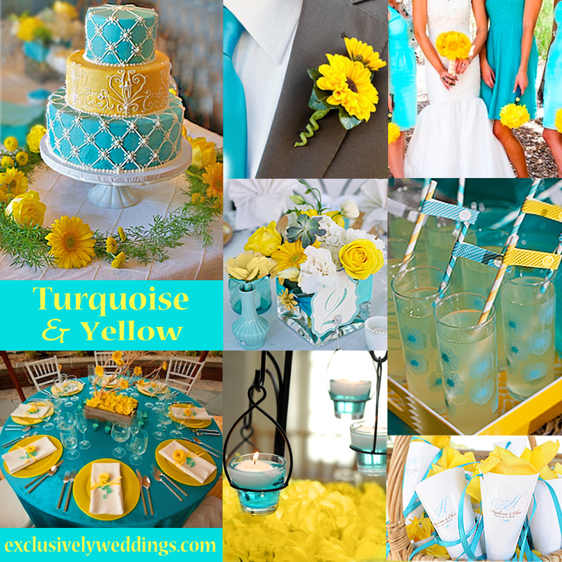 Turquoise wedding color seven perfect combinations exclusively turquoise and yellow wedding colors junglespirit