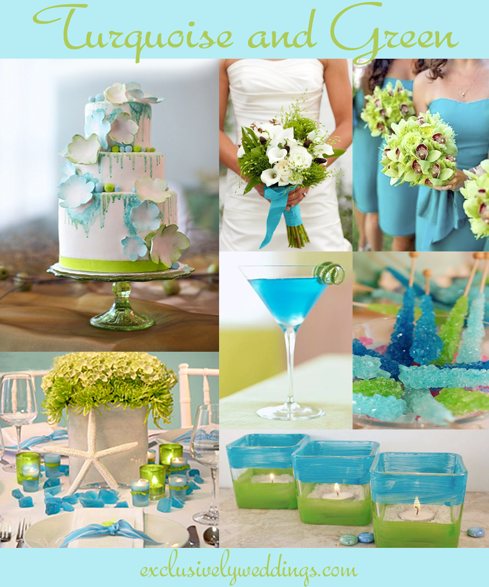 Turquoise wedding color seven perfect combinations exclusively turquoiseandgreenweddingcolors collages created by sher silver exclusively weddings junglespirit Images