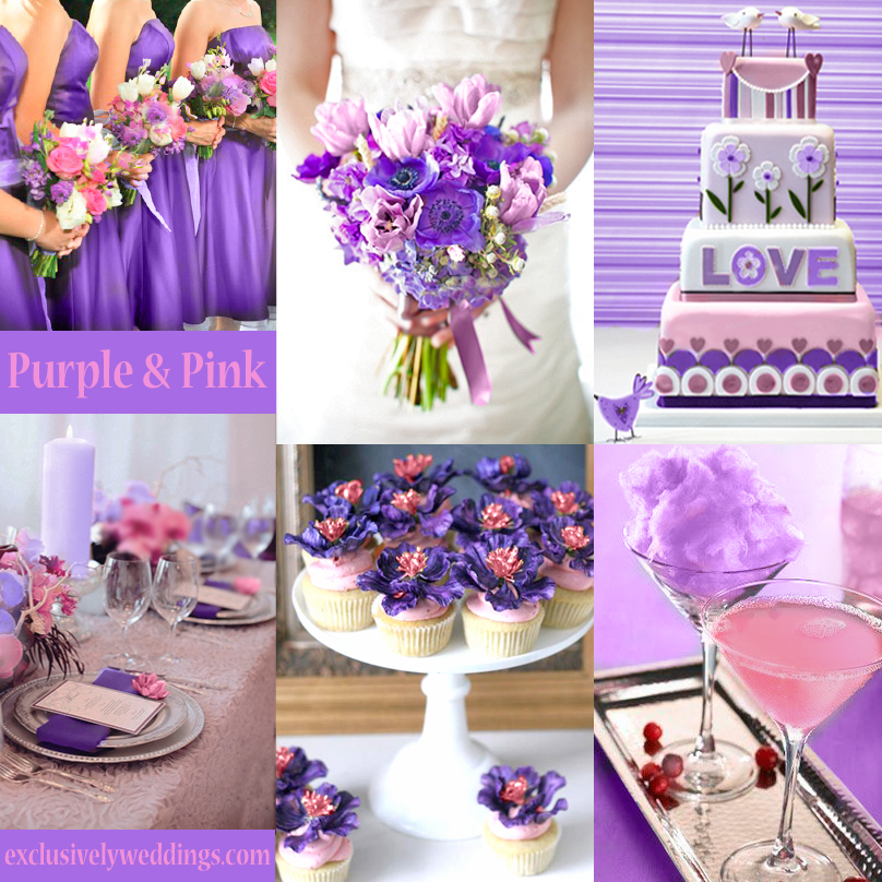 Pink wedding color twelve perfect combinations exclusively purple and pink wedding junglespirit Image collections