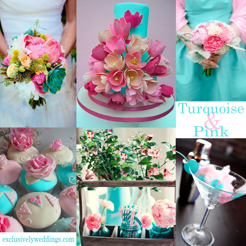 Turquoise wedding color seven perfect combinations exclusively turquoise and pink wedding junglespirit Images
