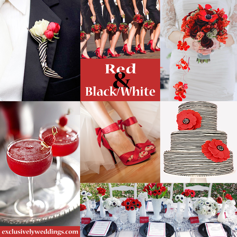 Black and white wedding theme with red accent www for All white wedding theme pictures